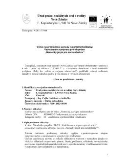 Úrad práce, sociálnych vecí a rodiny Nové Zámky F. Kapisztóryho 1