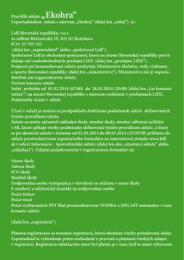 """Pravidlá súťaže """"Ekohra"""" Usporiadateľom súťaže s názvom """"Ekohra"""