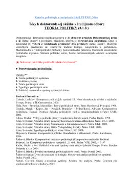 Tezy k PHD. minimovka - katedra politológie a európskych štúdií ff