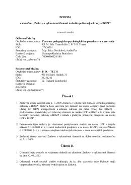 Zmluvy o vykonávaní činnosti technika požiarnej ochrany a BOZP
