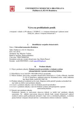 Výzva na predkladanie ponúk - Univerzitná nemocnica Bratislava