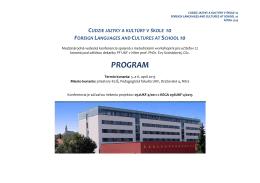 Pribudol program konferencie, prosím stiahnite si ho tu (formát PDF)