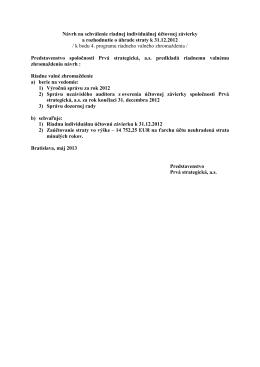 Návrh na schválenie riadnej individuálnej účtovnej závierky a