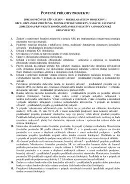 Priloha c. 5 Povinne prilohy projektu (zoznam).