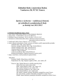 Základná škola s materskou školou Vančurova 38, 917 01 Trnava