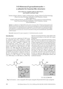 3-(2-Heteroaryl)-pyrazolotetrazoles — a subunits for losartan