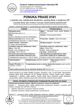 ponuka praxe 0101 - Vysoké školy ako motory rozvoja vedomostnej