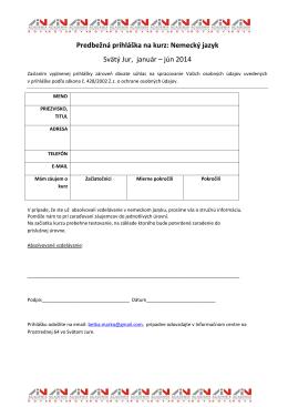 Predbežná prihláška na kurz: Nemecký jazyk Svätý Jur, január – jún