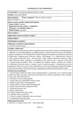 Filmová tvorba a recepcia - Katedra kulturológie FF UKF v Nitre