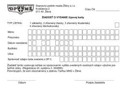 Žiadosť o vydanie čipovej karty - Dopravný podnik mesta Žiliny sro