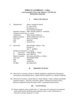 ZMLUVA O DIELO č. 2/2011 - Domov sociálnych služieb sv.Jána z