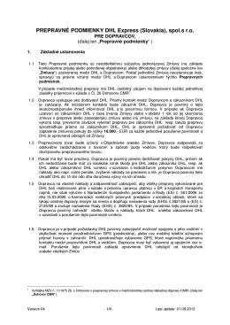 PREPRAVNÉ PODMIENKY DHL Express (Slovakia), spol.s r.o.