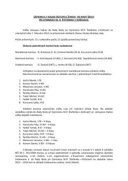 zápisnica z volieb pedagogických zamestnancov do rady školy pri
