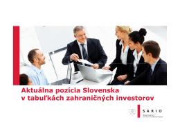 Aktuálna pozícia Slovenska v tabuľkách zahraničných investorov
