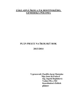 Plán hospitácií - Základná škola P. K.Hostinského Gemerská Poloma