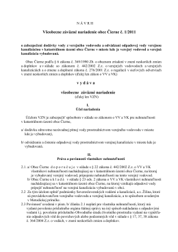 Všeobecne záväzné nariadenie obce Čierne č. 1/2011 v y d á v a