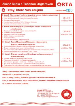 Zimná škola s Tatianou Orglerovou - Združenie pre riadenie a rozvoj