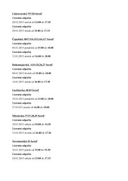 Cukrovarská 757/20 Sereď 1.termín odpočtu 20.01.2015 utorok od