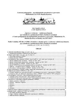 Správa o činnosti CPPPaP Banská Bystrica za školský rok 2011-2012