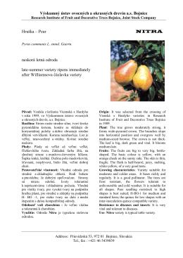 Nitra - Výskumný ústav ovocných a okrasných drevín as Bojnice