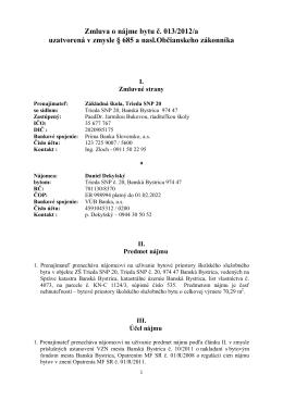 Zmluva o nájme bytu č. 013/2012/a uzatvorená v zmysle § 685 a