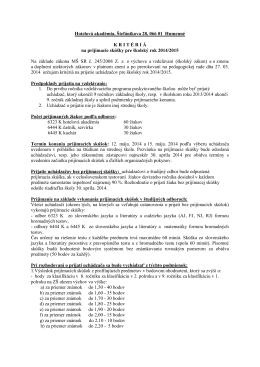 Hotelová akadémia, Štefánikova 28, 066 01 Humenné KRIT É RI Á