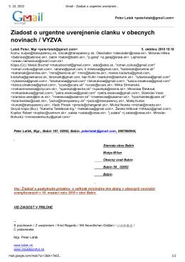 Gmail - Ziadost o urgentne uverejnenie clanku v obecnych novinach