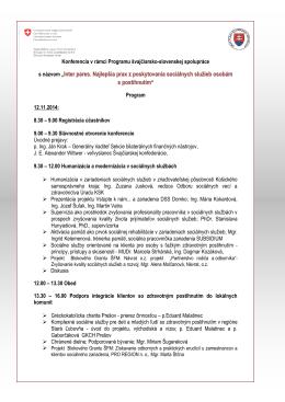 Draft programu konferencie Ukoncenie zazmluvnovacieho obdobia