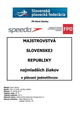 Letné M-SR najmladších žiakov - Plavecký klub MŠK Žiar nad Hronom