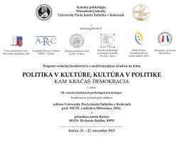 Program konferencie - Katedra politológie Filozofickej fakulty