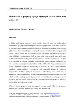 Modelovanie a prognózy vývoja vybraných ukazovateľov trhu práce