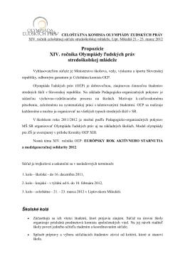 Propozície XIV. ročníka Olympiády ľudských práv stredoškolskej