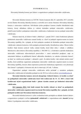 I N F O R M Á C I A Slovenskej lekárskej komory pre lekárov a