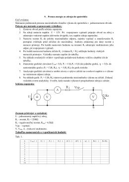 Tabuľka nameraných a vypočítaných hodnôt: Tab. 1.
