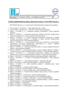 Prehľad najdôležitejších predpisov 2.