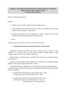 Zápisnica z ustanovujúceho zasadnutia hlavnej volebnej komisie