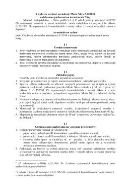 Všeobecne záväzné nariadenie Mesta Nitry č. 8 /2014 o dočasnom
