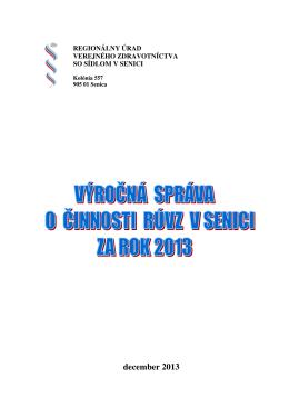 Výročná správa 2013 - Regionálny Úrad Verejného Zdravotníctva