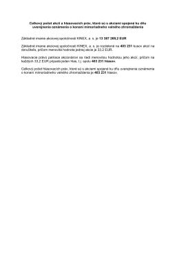 Celkový počet akcií a hlasovacích práv, ktoré sú s akciami spojené