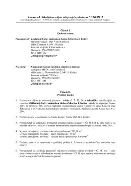 Zmluva o krátkodobom nájme nebytových priestorov č. 254032012