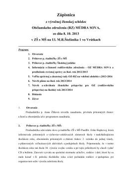 Zápisnica z výročnej členskej schôdze Občianskeho združenia (RZ)