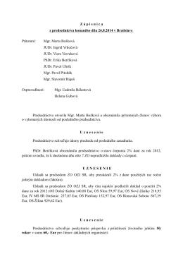 Zápisnica z predsedníctva konaného dňa 26.8.2014 v Bratislave
