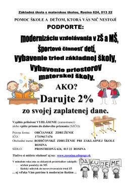Darujte 2% - Základná škola s materskou školou Rosina