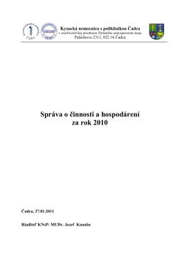 Komplexný rozbor za rok 2010 - Kysucká nemocnica s poliklinikou