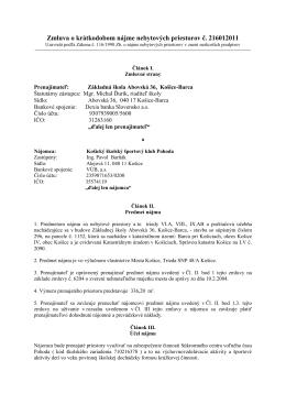 Zmluva o krátkodobom nájme nebytových priestorov č. 216012011