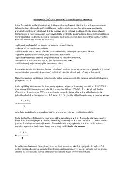 Hodnotenie ÚFIČ MS z predmetu Slovenský jazyk a literatúra Ústna