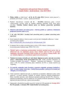 Organizačné zabezpečenie štátnych skúšok 2. stupňa štúdia v ak.r