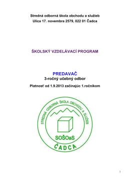 ŠkVP 6460 H - predavač - Stredná odborná škola obchodu a služieb