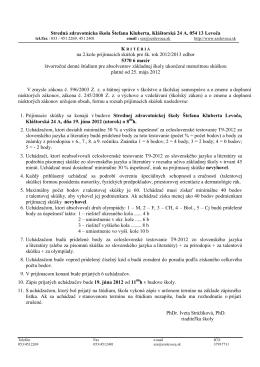 Kritériá MAS 2012 2.kolo - Stredná zdravotnícka škola Štefana