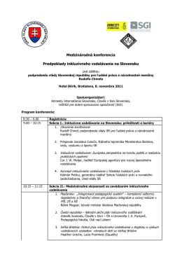 Medzinárodná konferencia Predpoklady inkluzívneho vzdelávania
